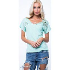 T-shirt ze zdobieniami miętowy ZZ1081. Zielone t-shirty damskie Fasardi, l. Za 59,00 zł.