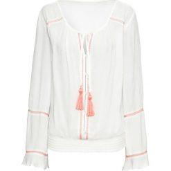 Tunika z wiązanymi troczkami bonprix biel wełny - pomarańczowy. Białe tuniki damskie marki bonprix, z wełny. Za 79,99 zł.