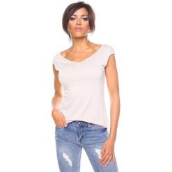 """Bluzki asymetryczne: Koszulka """"Chichko"""" w kolorze beżowym"""