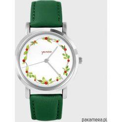 Zegarki damskie: Zegarek - Wianek, dzika róża - skóra, zielony
