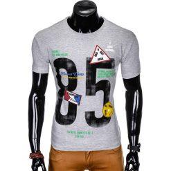 T-shirty męskie: T-SHIRT MĘSKI Z NADRUKIEM S990 - SZARY