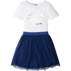 Sukienki dziewczęce: Sukienka z tiulową częścią spódnicową bonprix biało-kobaltowy