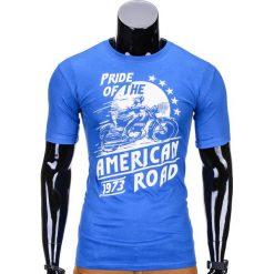 T-SHIRT MĘSKI Z NADRUKIEM S753 - NIEBIESKI. Niebieskie t-shirty męskie z nadrukiem Ombre Clothing, m. Za 29,00 zł.