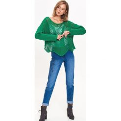 Swetry klasyczne damskie: SWETER AŻUROWY W MODNYM KOLORZE