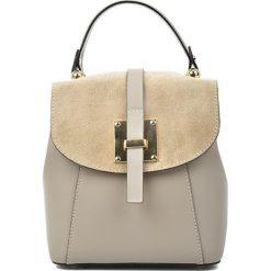 Plecaki damskie: Skórzany plecak w kolorze fango – (S)24 x (W)22 x (G)11 cm