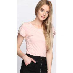 Różowy T-shirt Grungy. Czerwone bluzki asymetryczne Born2be, m. Za 34,99 zł.