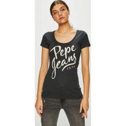 Pepe Jeans - Top. Szare topy damskie Pepe Jeans, s, z nadrukiem, z bawełny, z okrągłym kołnierzem. Za 99,90 zł.