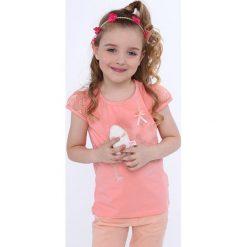 T-shirty dziewczęce: Koszulka z koronkowymi rękawami brzoskwioniowa NDZ8147