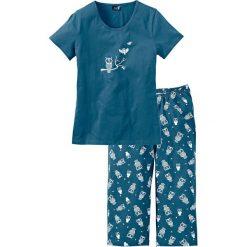Piżamy damskie: Piżama bonprix niebieskozielony – biały