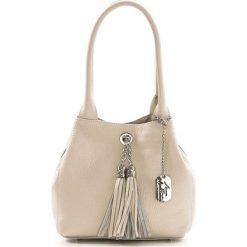 Torebki klasyczne damskie: Skórzana torebka w kolorze beżowym – 23 x 18 x 10 cm
