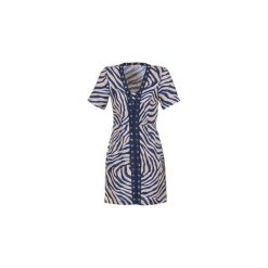 Sukienki krótkie MICHAEL Michael Kors  QUINCY LACE UP DRS. Niebieskie sukienki mini marki MICHAEL Michael Kors, z krótkim rękawem. Za 823,20 zł.