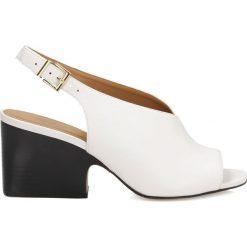 Sandały damskie: Białe sandały peep toe