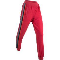 Spodnie dresowe damskie: Lekkie spodnie dresowe z kolorowym paskiem, długie bonprix ciemnoczerwony melanż