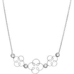 Naszyjniki damskie: Srebrny naszyjnik z cyrkoniami – (D)42 cm