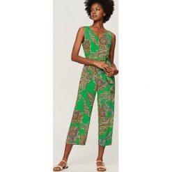 Kombinezony damskie: Kombinezon we wzory – Zielony