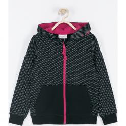 Bluza. Czarne bluzy dziewczęce rozpinane BASIC GIRL, z napisami, z bawełny, z kapturem. Za 69,90 zł.