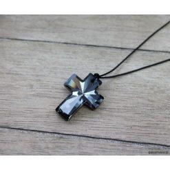 Naszyjniki męskie: Męski naszyjnik sznurkowy z krzyżem SWAROVSKI