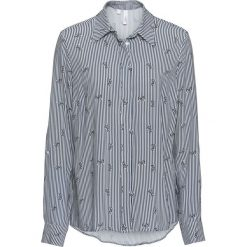 Bluzka bonprix ciemnoniebiesko-biały w paski. Niebieskie bluzki asymetryczne bonprix, z nadrukiem, klasyczne, z klasycznym kołnierzykiem. Za 69,99 zł.