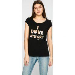 Wrangler - Top. Szare topy damskie marki Wrangler, na co dzień, m, z nadrukiem, casualowe, z okrągłym kołnierzem, mini, proste. W wyprzedaży za 79,90 zł.