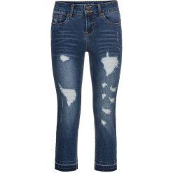 """Dżinsy SKINNY, dł. 3/4 bonprix niebieski """"stone"""". Niebieskie jeansy damskie marki bonprix, z nadrukiem. Za 109,99 zł."""