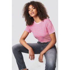 T-shirty damskie: Trendyol Klasyczny T-shirt w paski - Pink,White
