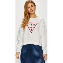 Guess Jeans - Bluza. Szare bluzy z nadrukiem damskie marki Guess Jeans, l, z bawełny, bez kaptura. Za 319,90 zł.