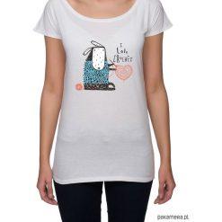 Koszulka damska z owieczką. Szare bluzki nietoperze marki Pakamera, z nadrukiem. Za 85,00 zł.
