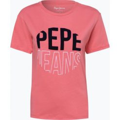 Pepe Jeans - T-shirt damski – Luise, różowy. Szare t-shirty damskie marki Pepe Jeans, m, z jeansu, z okrągłym kołnierzem. Za 89,95 zł.