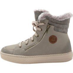 Rieker Botki beige mouse mogano. Czarne buty zimowe damskie marki Rieker, z materiału. W wyprzedaży za 223,20 zł.