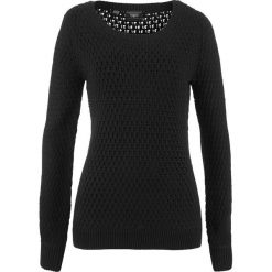 Swetry klasyczne damskie: Sweter w strukturalny wzór bonprix czarny