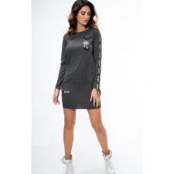 Sukienki: Sukienka z lampasami ciemnoszara 3659