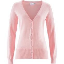 Swetry rozpinane damskie: Sweter rozpinany bonprix pastelowy jasnoróżowy