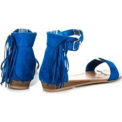 Rzymianki damskie: Zamszowe sandałki z frędzlami ORVA odcienie niebieskiego