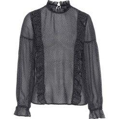 Bluzki damskie: Bluzka szyfonowa z falbanami bonprix czarny z nadrukiem