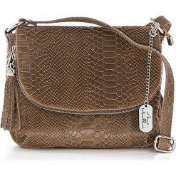 Torebki klasyczne damskie: Skórzana torebka w kolorze szarobrązowym - 28 x 20 x 8 cm