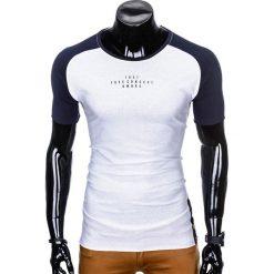 T-SHIRT MĘSKI Z NADRUKIEM S926 - BIAŁY/GRANATOWY. Białe t-shirty męskie z nadrukiem Ombre Clothing, m. Za 29,00 zł.