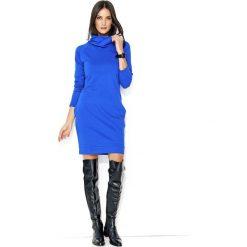 Chabrowa Codzienna Krótka Sukienka z Wysokim Golfem. Niebieskie sukienki mini marki Molly.pl, na co dzień, l, z golfem, z krótkim rękawem, proste. Za 113,90 zł.
