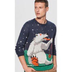 Świąteczny sweter waiting for snow - Granatowy. Niebieskie swetry klasyczne męskie Cropp, l. Za 99,99 zł.