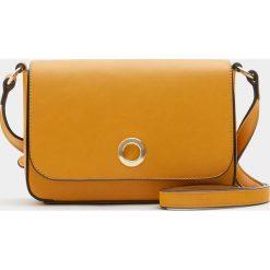 Torebki klasyczne damskie: Musztardowa mała torebka na ramię z okrągłym zapięciem