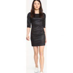 SUKIENKA DAMSKA GŁADKA. Czarne sukienki hiszpanki Top Secret, na imprezę, mini, dopasowane. Za 49,99 zł.