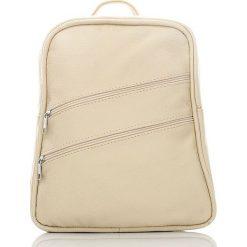 Plecaki damskie: ALENA Skórzany plecak damski Kremowy