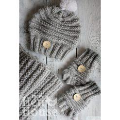 Komplet Puchatka czapka + szalik + mitenki. Szare czapki zimowe damskie Pakamera, na zimę. Za 260,00 zł.