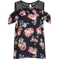 Bluzka z koronką i wycięciami na ramionach bonprix czarny w kwiaty. Czarne bluzki asymetryczne bonprix, w koronkowe wzory, z koronki. Za 89,99 zł.