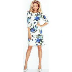 Maddalena Sukienka z rękawkiem. Niebieskie sukienki hiszpanki numoco, w kwiaty. Za 139,99 zł.