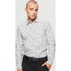 Świąteczna koszula z mikrowzorem - Szary. Szare koszule męskie marki House, l, z bawełny. Za 69,99 zł.