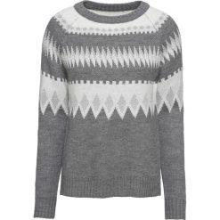 Sweter żakardowy z lureksową nitką bonprix szary melanż - biel wełny - srebrny. Szare swetry klasyczne damskie bonprix, z dzianiny. Za 109,99 zł.