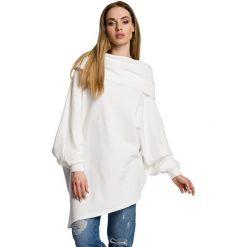 ZARA Asymetryczna bluza z szerokim kołnierzem - ecru. Szare bluzy damskie Moe, z dzianiny, z krótkim rękawem, krótkie. Za 179,90 zł.