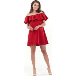 Czerwona Wyjściowa Sukienka Mini Typu Hiszpanka. Szare sukienki hiszpanki marki Molly.pl, l, w koronkowe wzory, z koronki, eleganckie, z dekoltem typu hiszpanka, z krótkim rękawem, midi, dopasowane. Za 119,90 zł.