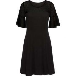 Sukienki balowe: Sukienka z dżerseju z siatkową wstawką w kropki bonprix czarny