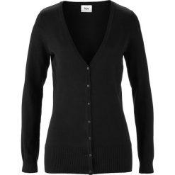 Sweter rozpinany bonprix czarny. Czarne swetry rozpinane damskie marki bonprix, z dzianiny. Za 59,99 zł.